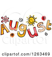 Clipart Of Colorful Sketched Month Of August Text Royalty Free Vector Illustration