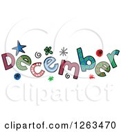 Clipart Of Colorful Sketched Month Of December Text Royalty Free Vector Illustration