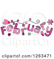 Clipart Of Colorful Sketched Month Of February Valentines Day Love Themed Text Royalty Free Vector Illustration