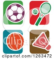Clipart Of Colorful Tile And Sports Icons Royalty Free Vector Illustration by Prawny