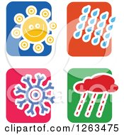 Clipart Of Colorful Tile And Weather Icons Royalty Free Vector Illustration by Prawny