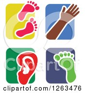 Clipart Of Colorful Tile And Human Anatomy Icons Royalty Free Vector Illustration