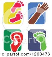 Colorful Tile And Human Anatomy Icons