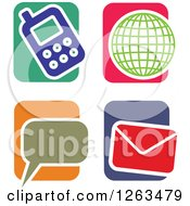 Clipart Of Colorful Tile And Communications Icons Royalty Free Vector Illustration by Prawny