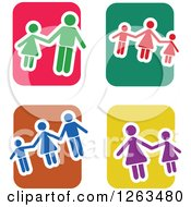 Clipart Of Colorful Tile And Family Icons Royalty Free Vector Illustration by Prawny