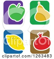 Clipart Of Colorful Tile And Fruit Icons Royalty Free Vector Illustration by Prawny