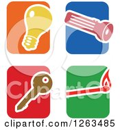 Clipart Of Colorful Tile And Object Icons Royalty Free Vector Illustration by Prawny