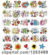 Clipart Of Colorful Floral Alphabet Letters Royalty Free Vector Illustration