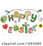 Clipart Of Colorful Sketched Happy Easter Text Royalty Free Vector Illustration