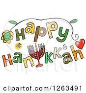 Clipart Of Colorful Sketched Happy Hanukkah Text Royalty Free Vector Illustration