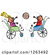 Happy White Disabled Stick Children Tossing A Ball In Their Wheelchairs