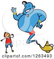 Clipart Of A Brunette White Stick Boy Talking To A Genie Royalty Free Vector Illustration