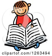 Clipart Of A Brunette White Stick Boy Reading A Book Royalty Free Vector Illustration