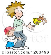 Clipart Of A Sweet Boy Hugging His Mom From Behind And Scaring Her As She Spills Coffee Royalty Free Vector Illustration