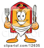 Clipart Picture Of A Price Tag Mascot Cartoon Character Holding A Knife And Fork
