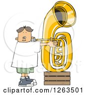 Clipart Of A White Boy Playing A Tuba Royalty Free Vector Illustration