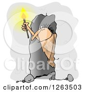 Clipart Of A Caveman Holding A Torch In A Cave Royalty Free Illustration by Dennis Cox