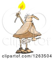Clipart Of A Hairy Caveman Holding A Torch Royalty Free Vector Illustration