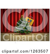 Clipart Of A 3d Yellow Robot Smiling Around A Christmas Tree Over Red Curtains Royalty Free Illustration