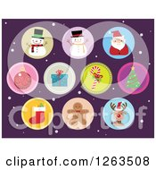 Clipart Of Round Christmas Icons Over Purple And Snow Royalty Free Vector Illustration