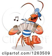 Clipart Of A Happy Lobster Playing An Accordian Royalty Free Vector Illustration