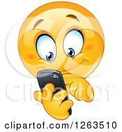 Clipart Of A Happy Emoticon Smiley Texting On A Smart Phone Royalty Free Vector Illustration