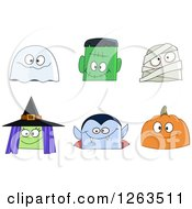 Clipart Of Halloween Character Faces Royalty Free Vector Illustration by yayayoyo