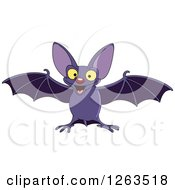 Clipart Of A Flying Happy Vampire Bat Royalty Free Vector Illustration by yayayoyo