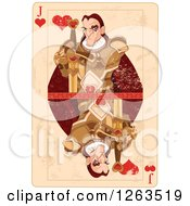 Clipart Of A Distressed Jack Of Hearts Playing Card Royalty Free Vector Illustration by Pushkin