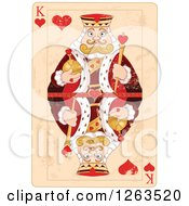 Clipart Of A Distressed King Of Hearts Playing Card Royalty Free Vector Illustration by Pushkin