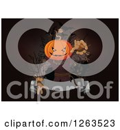Clipart Of A Creepy Halloween Jackolantern Scarecrow Man Reaching Out Over A Blank Ribbon Banner Royalty Free Vector Illustration by Pushkin