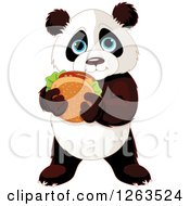 Cute Baby Panda Holding A Cheeseburger