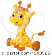 Clipart Of A Cute Baby Giraffe Doing The Splits Royalty Free Vector Illustration by Pushkin
