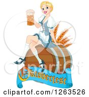 Happy Blond Beer Maiden Woman Sitting On A Keg Barrel With An Oktoberfest Banner