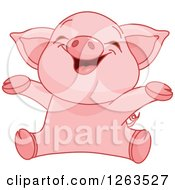 Clipart Of A Cute Baby Piglet Cheering Royalty Free Vector Illustration