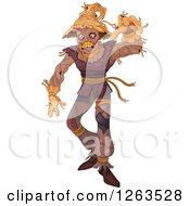 Clipart Of A Creepy Scarecrow Reaching Outwards Royalty Free Vector Illustration