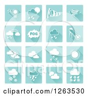 Clipart Of Square Blue And White Weather Icons Royalty Free Vector Illustration by AtStockIllustration