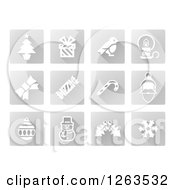 Clipart Of Square Grayscale Christmas Icons Royalty Free Vector Illustration by AtStockIllustration