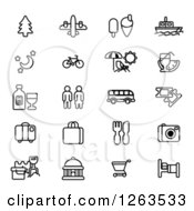 Clipart Of Black And White Tourist Icons Royalty Free Vector Illustration by AtStockIllustration