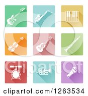 Clipart Of Colorful Square Music Instrument Icons Royalty Free Vector Illustration by AtStockIllustration