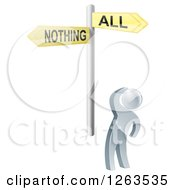 Clipart Of A 3d Silver Man Looking Up At An All Or Nothing Sign Royalty Free Vector Illustration