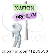 Clipart Of A 3d Silver Man Looking Up At Problem And Solution Signs Royalty Free Vector Illustration by AtStockIllustration