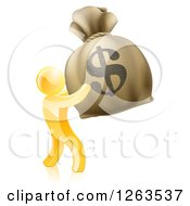 Clipart Of A 3d Gold Man Holding Up A Large Dollar Money Bag Royalty Free Vector Illustration