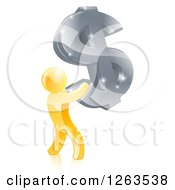 Clipart Of A 3d Gold Man Holding Up A Giant Silver USD Dollar Symbol Royalty Free Vector Illustration
