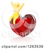 Clipart Of A 3d Gold Man Sitting And Cheering On A Red Heart Royalty Free Vector Illustration