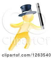 Clipart Of A 3d Gold Magic Man Holding Up A Wand Royalty Free Vector Illustration