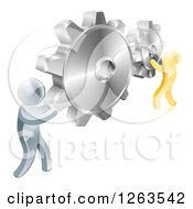 Clipart Of 3d Gold And Silver Men Connecting Two Giant Gear Cogs Royalty Free Vector Illustration