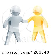 Clipart Of A 3d Gold And Silver Men Shaking Hands Royalty Free Vector Illustration
