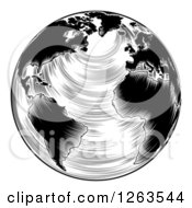 Clipart Of A Black And White Engraved Earth Royalty Free Vector Illustration