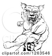 Clipart Of A Black And White Vicious Muscular Wolf Man Punching Royalty Free Vector Illustration